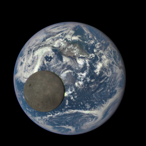 The moon transits Earth